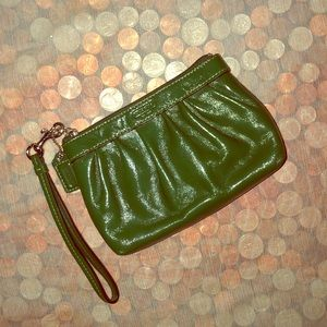 Coach Green Pleated Patent Leather Wristlet Bag